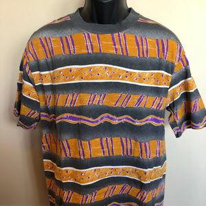 Vintage Shirts - 90s Striped Shape Tee Shirt Retro